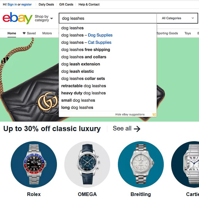 eBay product listings